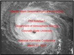 Phil Klotzbach's presentation from the National Hurricane Conference
